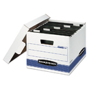 FELLOWES MANUFACTURING FEL00784 Hang'n'stor Storage Box, Letter, Lift-Off Lid, White/blue, 4/carton