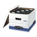 FELLOWES MANUFACTURING FEL00785 Hang'n'stor Storage Box, Legal/letter, Lift-Off Lid, White/blue, 4/carton