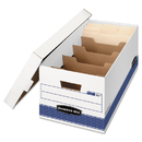 FELLOWES MANUFACTURING FEL0083101 Stor/file Extra Strength Storage Box, Letter, Locking Lid, White/blue, 12/carton