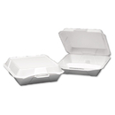 Genpak GNP25300 Foam Hinged Container, 3-Compartment, Jumbo, 10-1/4x9-1/4x3-1/4, White, 100/bag
