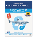 HAMMERMILL/HP EVERYDAY PAPERS HAM86702 Great White Recycled Copy 3-Hole Punched, 92 Brightness, 20lb, Letter, 5000/ctn