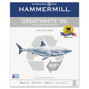 Hammermill HAM86790 Great White 100 Recycled Copy Paper, 20lb, 8-1/2 X 11, White, 5,000 Sheet/carton