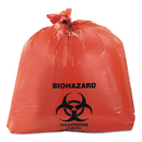 Heritage HERA8046ZR Healthcare Biohazard Printed Can Liners, 40-45 Gal, 3mil, 40 X 46, Red, 75/ct