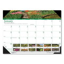 HOUSE OF DOOLITTLE HOD174 Recycled Gardens Of The World Photo Monthly Desk Pad Calendar, 22 X 17, 2017