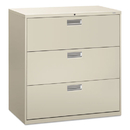 Hon HON693LQ 600 Series Three-Drawer Lateral File, 42w X 19-1/4d, Light Gray