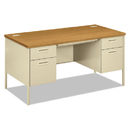 Hon HONP3262CL Metro Classic Double Pedestal Desk, 60w X 30d X 29 1/2h, Harvest/putty