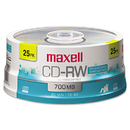 Maxell MAX630026 Cd-Rw Discs, 700mb/80min, 4x, Spindle, Silver, 25/pack