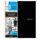 Five Star MEA06210 Wirebound Notebook, College Rule, 8 1/2 X 11, 3 Subject, 150 Sheets