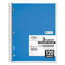 Mead MEA06710 Spiral Bound Notebook, Perforated, College Rule, 8 1/2 X 11, White, 120 Sheets