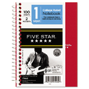 Five Star MEA45484 Wirebound Notebook, College Rule, 5 X 7, Perforated, White, 100 Sheets