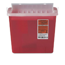 Medline MIIMDS705153H Sharps Container For Patient Room, Plastic, 5qt, Rectangular, Red