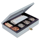 MMF INDUSTRIES MMF221618001 Heavy-Duty Steel Low-Profile Cash Box W/6 Compartments, Key Lock, Gray