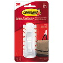 Command 17003ES General Purpose Hooks, Large, 5 lb Cap, White, 1 Hook and 2 Strips/Pack