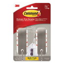 Command 17034BN2-ES Decorative Hooks, Medium, Brushed Nickel, 2 Hook and 4 Strips/Pack