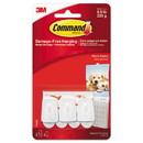 Command 17066ES General Purpose Hooks, Micro, 0.5 lb Cap, White, 3 Hooks and 4 Strips/Pack