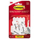 Command 17067-9ES General Purpose Wire Hooks Multi-Pack, Small, 0.5 lb Cap, White, 9 Hooks and 12 Strips/Pack