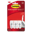 Command 17067ES General Purpose Wire Hooks, Small, 0.5 lb Cap, White, 3 Hooks and 6 Strips/Pack