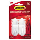 Command 17081ES General Purpose Designer Hooks, Medium, 3 lb Cap, White, 2 Hooks and 4 Strips/Pack