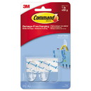 Command 17092CLR-ES Clear Hooks & Strips, Plastic, Small, 2 Hooks & 4 Strips/Pack