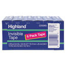 Highland MMM6200K6 Invisible Permanent Mending Tape, 3/4