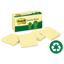 3M/COMMERCIAL TAPE DIV. MMM654RPYW Greener Original Recycled Note Pads, 3 X 3, Canary Yellow, 100-Sheet, 12/pack