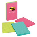 Post-It MMM6603AN Original Pads In Cape Town Colors, Lined, 4 X 6, 100-Sheet, 3/pack