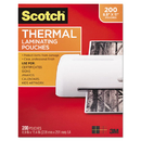 Scotch MMMTP3854200 Letter Size Thermal Laminating Pouches, 3 Mil, 11 2/5 X 8 9/10, 200 Per Pack