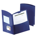 Oxford OXF5062523 Contour Two-Pocket Recycled Paper Folder, 100-Sheet Capacity, Dark Blue