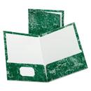 Oxford OXF51617 Marble Design Laminated High Gloss Twin Pocket Folder, Emerald Green, 25/box