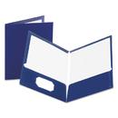 Oxford OXF51743 High Gloss Laminated Paperboard Folder, 100-Sheet Capacity, Navy, 25/box
