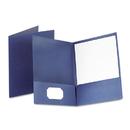 Oxford OXF53443 Linen Finish Twin Pocket Folders, Letter, Navy, 25/box
