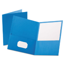 Oxford OXF57501 Twin-Pocket Folder, Embossed Leather Grain Paper, Light Blue, 25/box