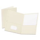Oxford OXF57504 Twin-Pocket Folder, Embossed Leather Grain Paper, White, 25/box