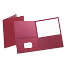 Oxford OXF57557 Twin-Pocket Folder, Embossed Leather Grain Paper, Burgundy, 25/box