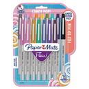 Paper Mate Liquid Paper 2027233 Flair Felt Tip Stick Marker Pen, 0.4mm, Assorted Ink, Gray Barrel, 16/Pack