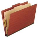 Pendaflex PFX1157R Four-Section Pressboard Folders, Letter, 2/5 Tab, Red, 10/box