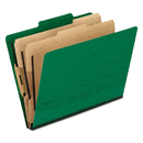 Pendaflex PFX1257GR Six-Section Colored Classification Folders, Letter, 2/5 Tab, Green, 10/box