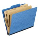 Pendaflex PFX1257LB Six-Section Colored Classification Folders, Letter, 2/5 Tab, Light Blue, 10/box