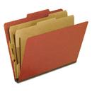 Pendaflex PFX1257R Six-Section Pressboard Folders, Letter, 2/5 Tab, Red, 10/box