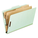 Pendaflex PFX17173 Six-Section Pressboard Folders, Letter, 2/5 Tab, Green, 10/box