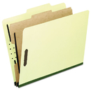 Pendaflex PFX2157G Four-Section Pressboard Folders, Legal, 2/5 Tab, Light Green, 10/box