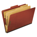 Pendaflex PFX2257R Six-Section Pressboard Folders, Legal, 2/5 Tab, Red, 10/box