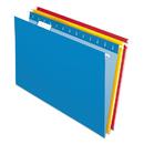 Pendaflex PFX81632 Essentials Colored Hanging Folders, 1/5 Tab, Legal, Assorted Colors, 25/box