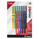 Pilot 31888 Precise V5 Roller Ball Stick Pen, Precision Point, Assorted Ink, .5mm, Dozen