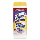 Lysol RAC81143CT Dual Action Disinfecting Wipes, Citrus, 7 X 8, 35/canister