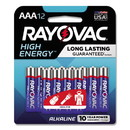 Rayovac 82412K High Energy Premium Alkaline AAA Battery, 12/Pack