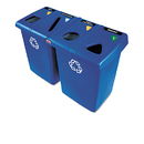 Rubbermaid RCP1792372 Glutton Recycling Station, Four-Stream, 92 Gal, Blue