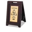 Rubbermaid RCP1867507 Executive 2-Sided Multi-Lingual Caution Sign, Brown/brass, 15 X 23 1/2