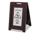 Rubbermaid RCP1867508 Executive 2-Sided Multi-Lingual Caution Sign, Brown/stainless Steel,15 X 23 1/2