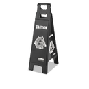 Rubbermaid RCP1867509 Executive 4-Sided Multi-Lingual Caution Sign, Black/white, 11 9/10 X 38